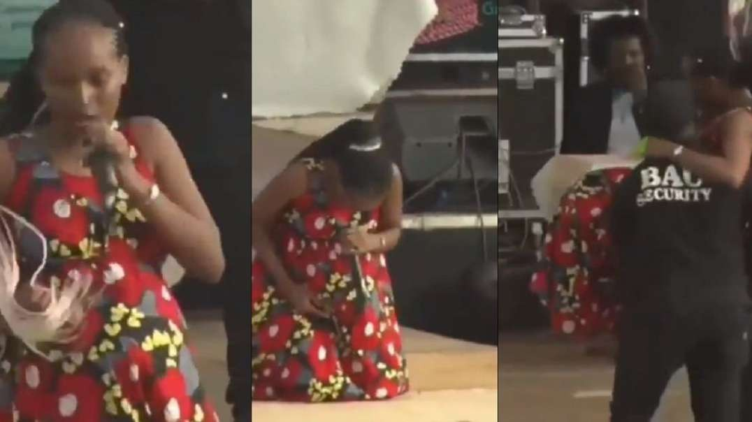 Moment heavily pregnant singer goes into labour while performing at a concert